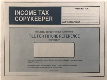 Income Tax CopyKeeper - 9 1/2 x 12 5/8 GREY (CL-206G) NO IMPRINTING