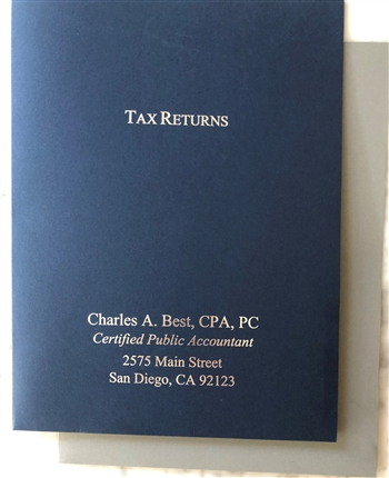 CL-210 IMPRINTED Presentation Folder 2 Pocket Tax Return Foil