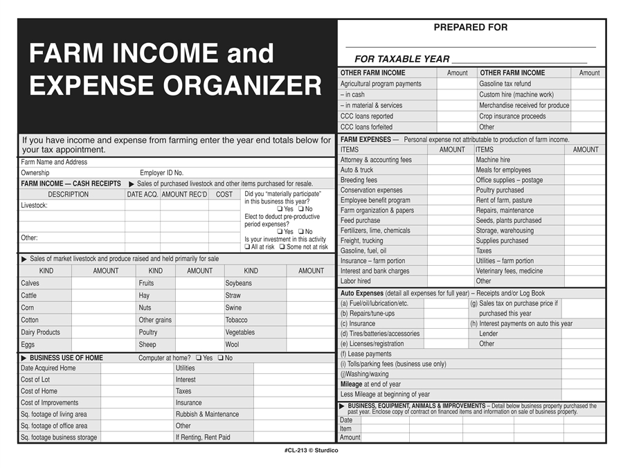 farm income and expense record keeper file envelope