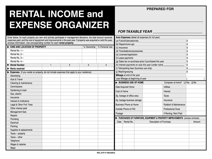 rental income and expense record keeper file envelope