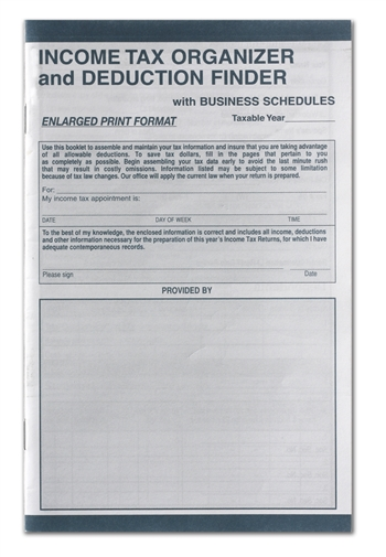 Enlarged Tax Organizer and Deduction Finder with Business Schedules CS-125
